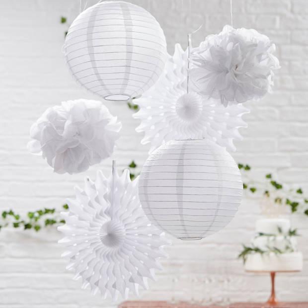 Hangende decoratie - gemixed - Wit (6 delig)