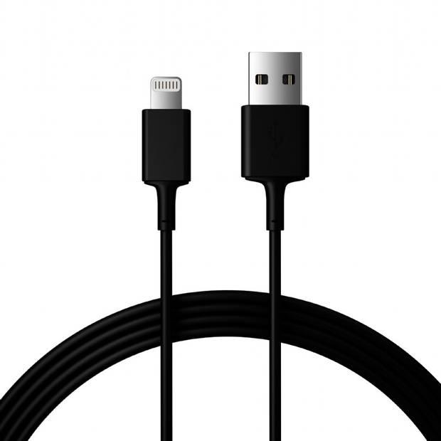 Qbits USB oplaad kabel - 8-pins - 1 meter - zwart