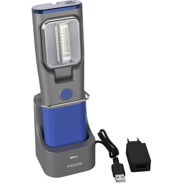 Philips werklamp Rch31uv led oplaadbaar 20 cm grijs/blauw