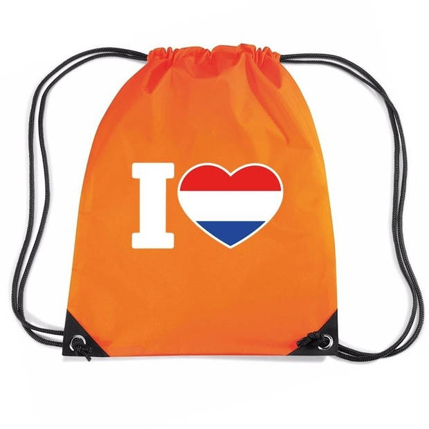 Oranje nylon rijgkoord rugzak/ sporttas I love Holland