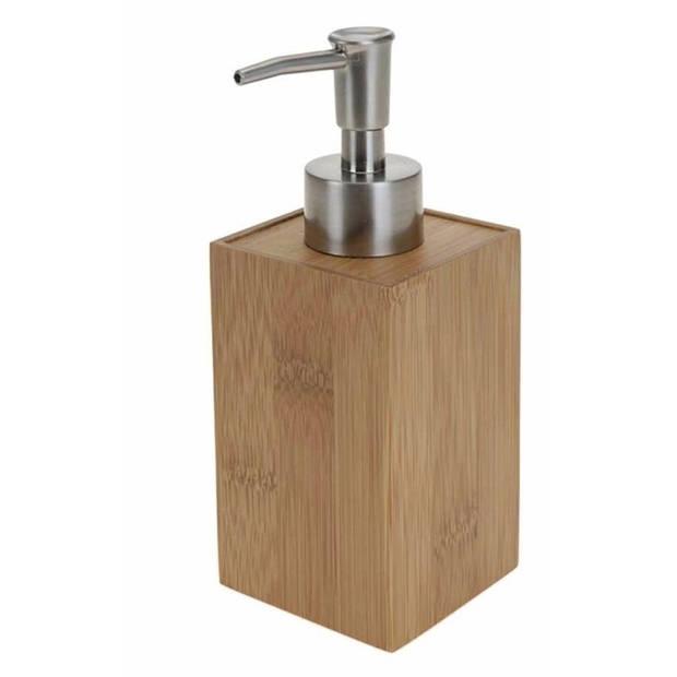 Navulbaar zeep pompje bamboe 17 cm - zeep dispenser