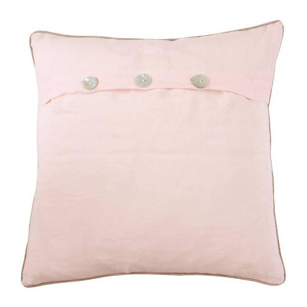 Walra Saar sierkussen - Voorkant: 100% katoen, achterkant: 100% linnen - 45x45 cm - Roze