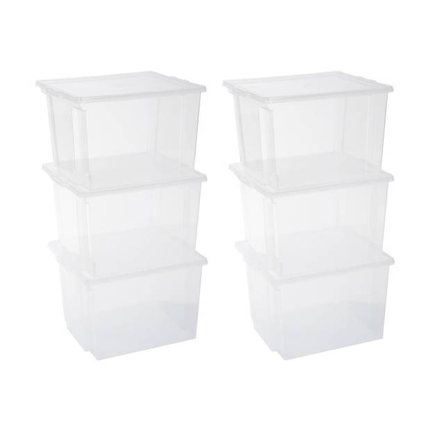 Iris Storage Box opbergbox - 30 liter - transparant - set van 6