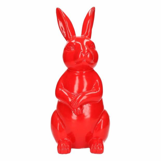 Dierenbeeld haas / konijn rood 30 cm
