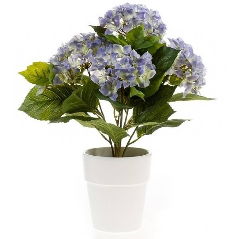 Kunstplant Hortensia Blauw In Pot 37 Cm - Kamerplant Blauwe Hortensia