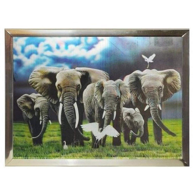 3d Olifanten Poster In Zilveren Lijst