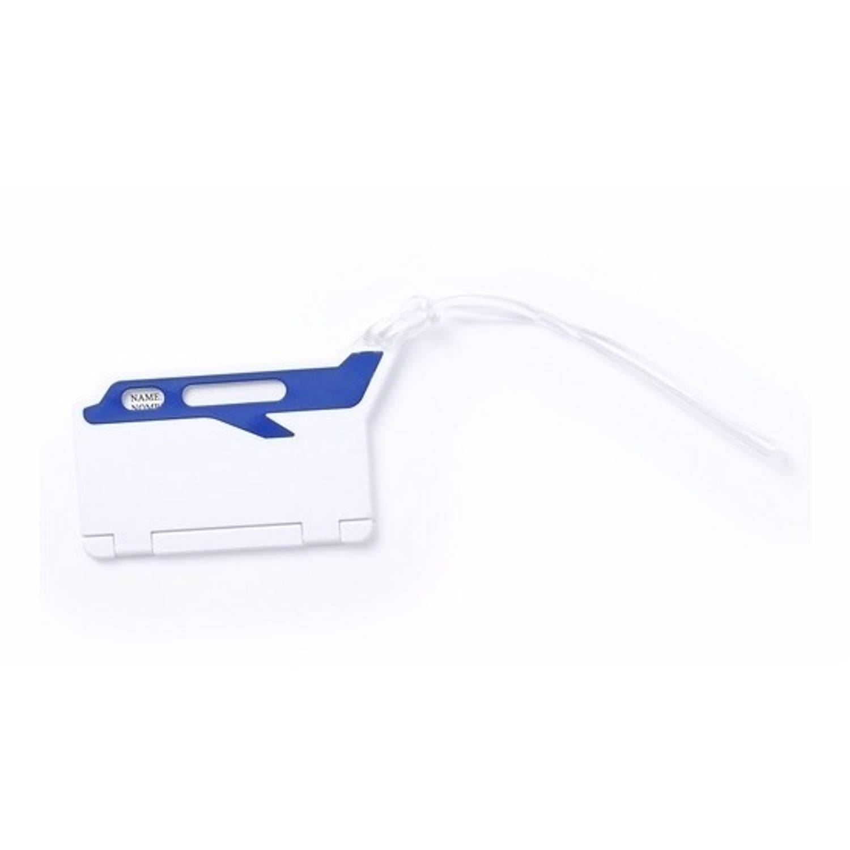Korting Kofferlabel Wit blauw 9,5 Cm
