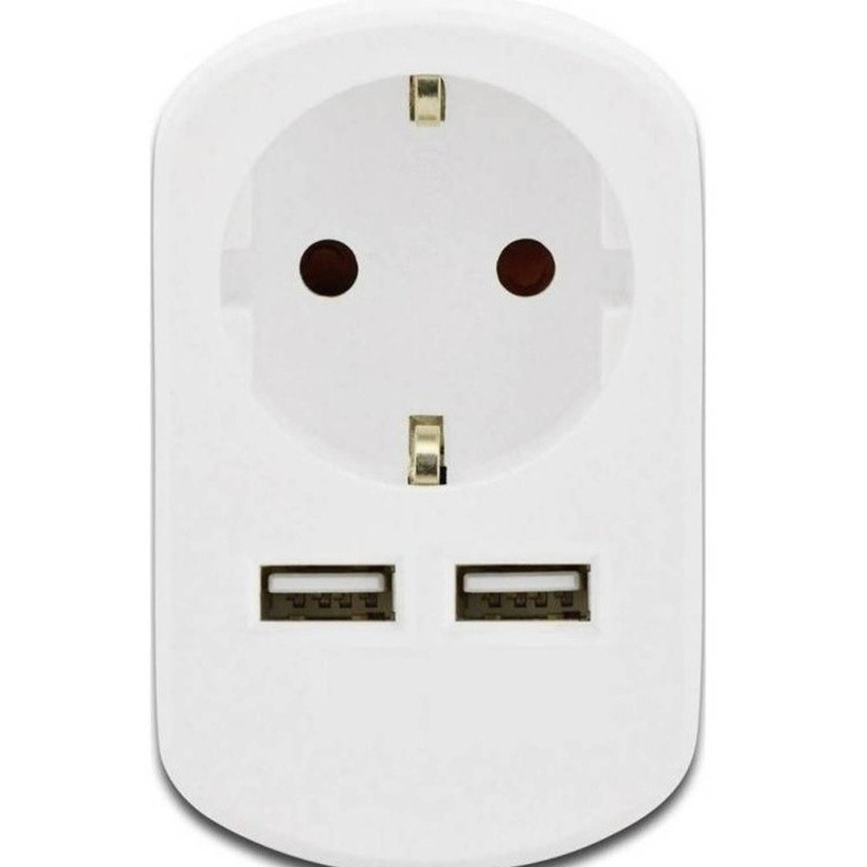 Stopcontact met 2x USB oplader-snel lader