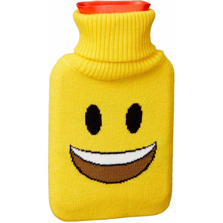 Kruik met gele hoes/lachende smiley 1 liter - warmwaterkruik