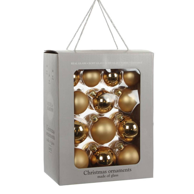 House of Seasons Kerstbal Glas Ø7 cm set van 26 Goud