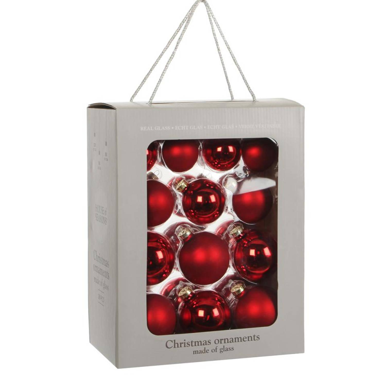 House of Seasons Kerstbal Glas Ø7 cm set van 26 Rood