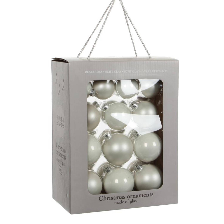House of Seasons Kerstbal Glas Ø7 cm set van 26 Wit