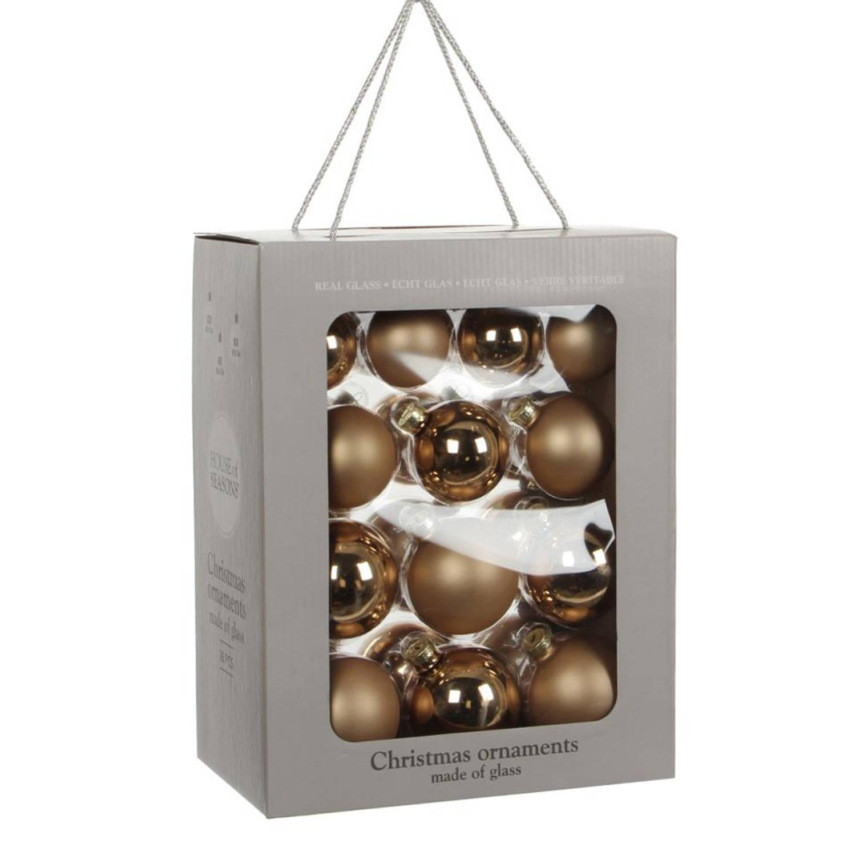 House of Seasons kerstballen glas champagne 26 stuks