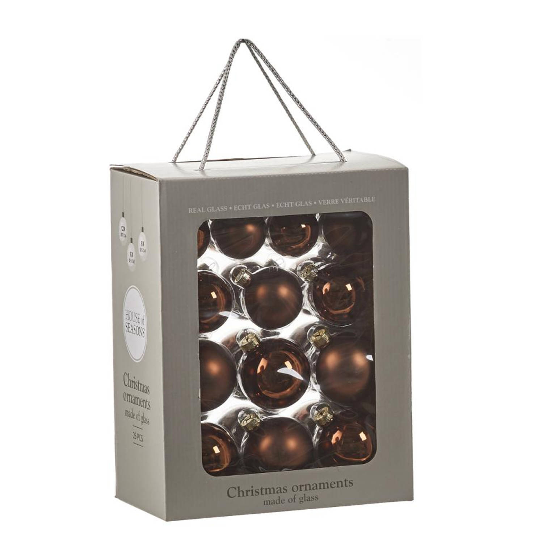House of Seasons kerstballen glas bruin 26 stuks