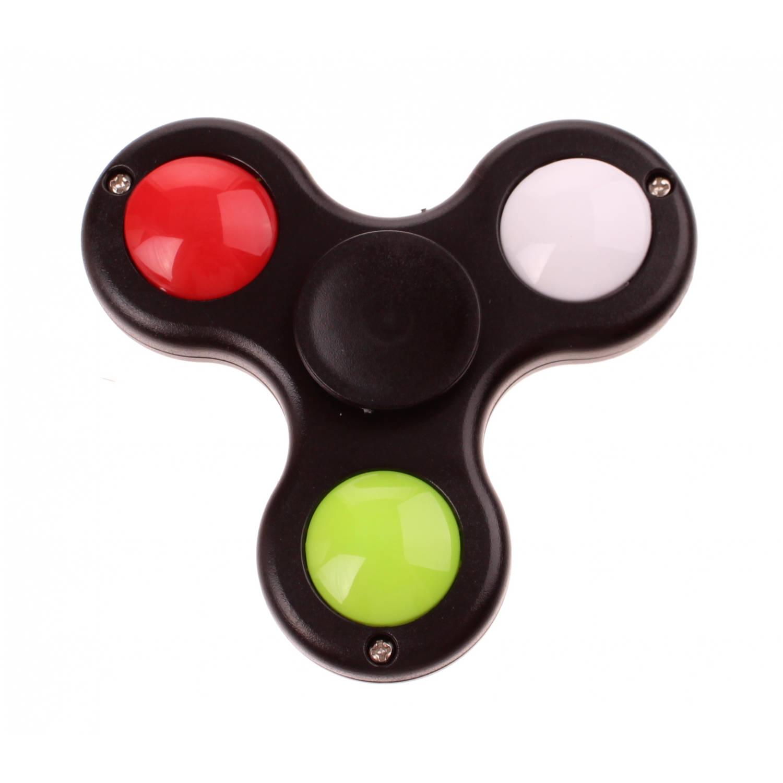 Kids Fun fast Spinner met licht 7 cm zwart