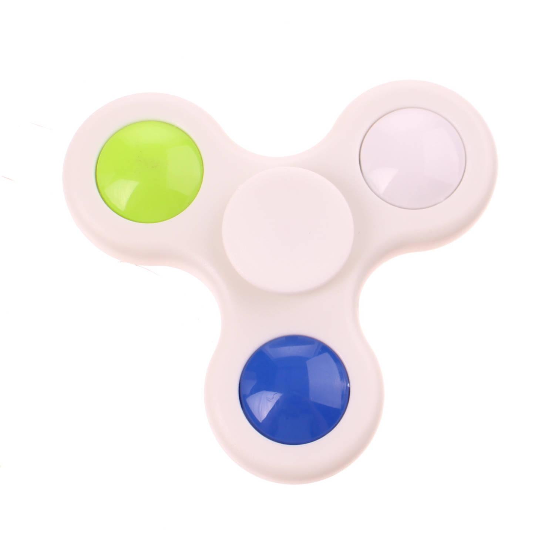 Kids Fun fast Spinner met licht 7 cm wit