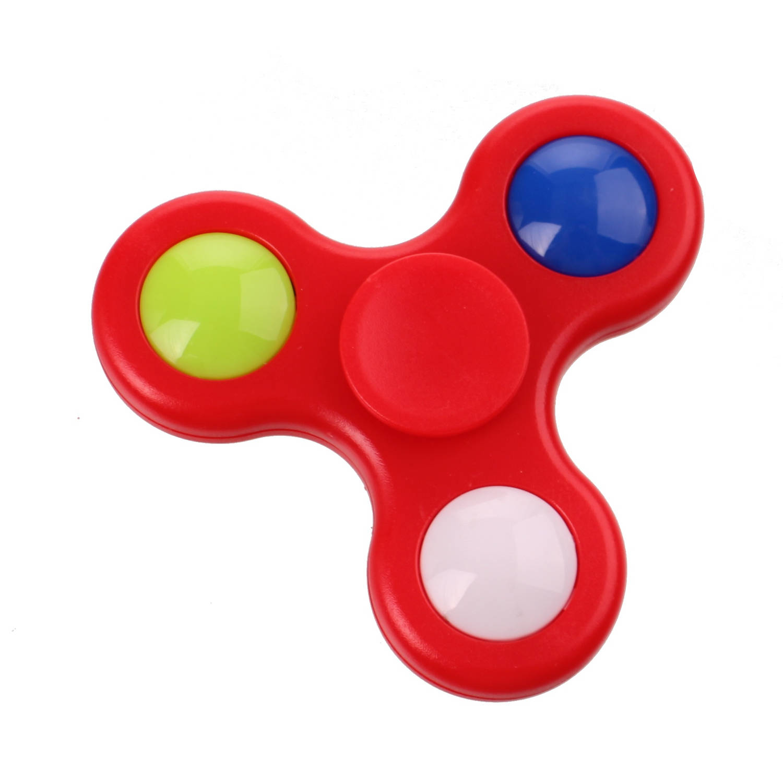 Kids Fun fast Spinner met licht 7 cm rood