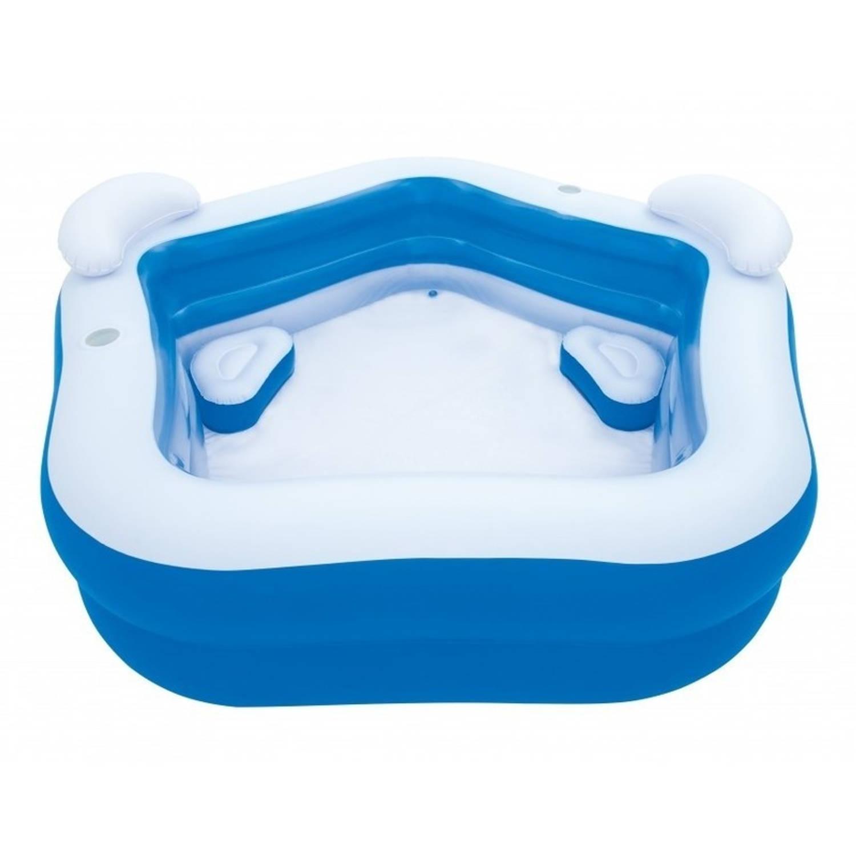 Opblaasbaar zwembad met stoeltjes 213x207x69cm familie for Blokker zwembad