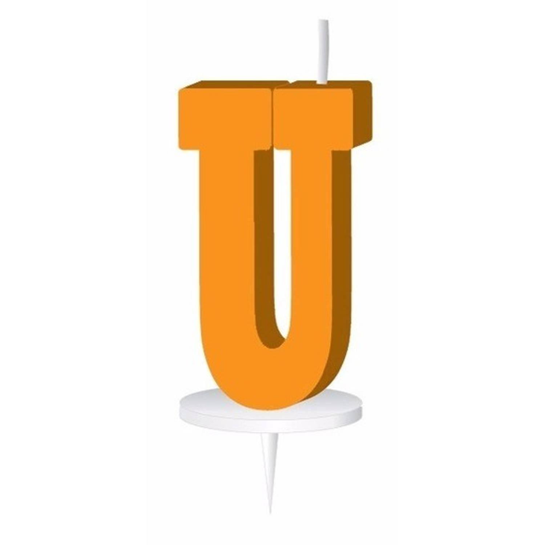 Korting Oranje Letterkaarsje Met Houder U