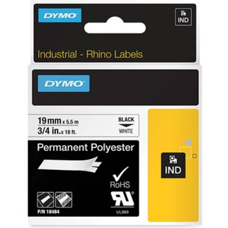 Dymo RHINO permanente polyester tape 19 mm, zwart op wit