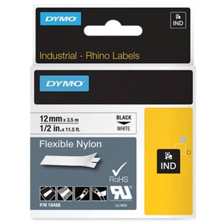 Dymo RHINO flexibele nylontape 12 mm, zwart op wit