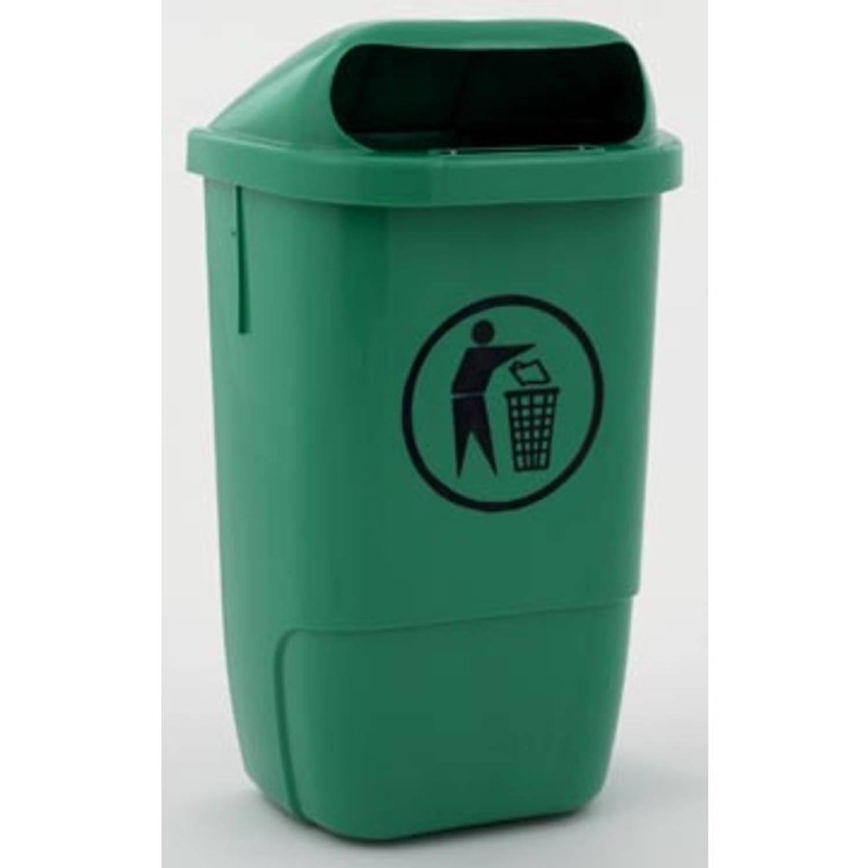 Afvalbak uit kunststof, inhoud 50 L, groen