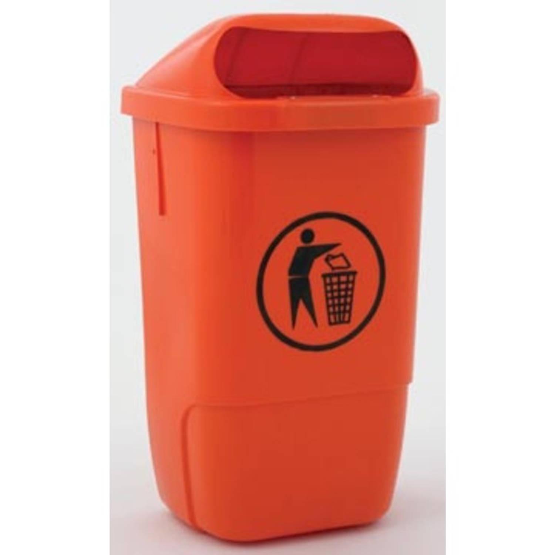 Afvalbak Uit Kunststof, Inhoud 50 L, Oranje