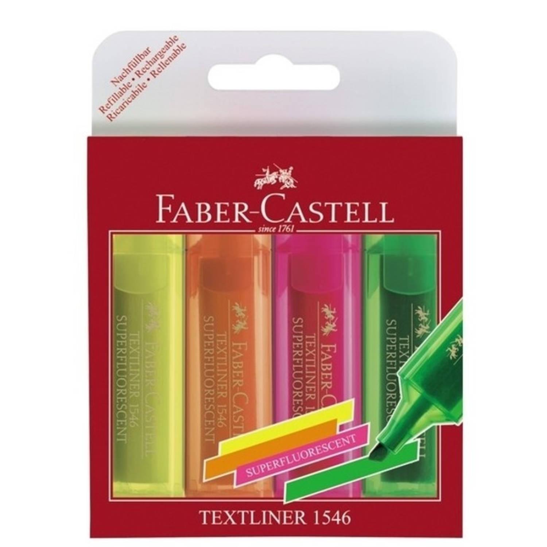 tekstmarker Faber Castell 1546 etui met 4 stuks