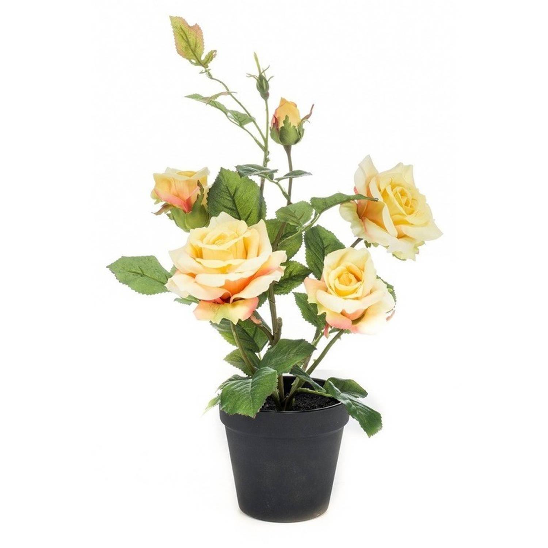 Kunstplant Roos geel 40 cm in pot