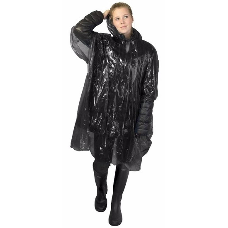 Korting Wegwerp Regenponcho Zwart Voor Volwassenen