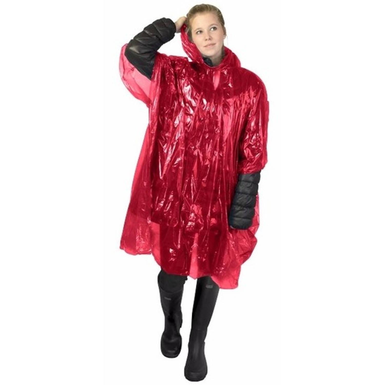 Korting Wegwerp Regenponcho Rood Voor Volwassenen