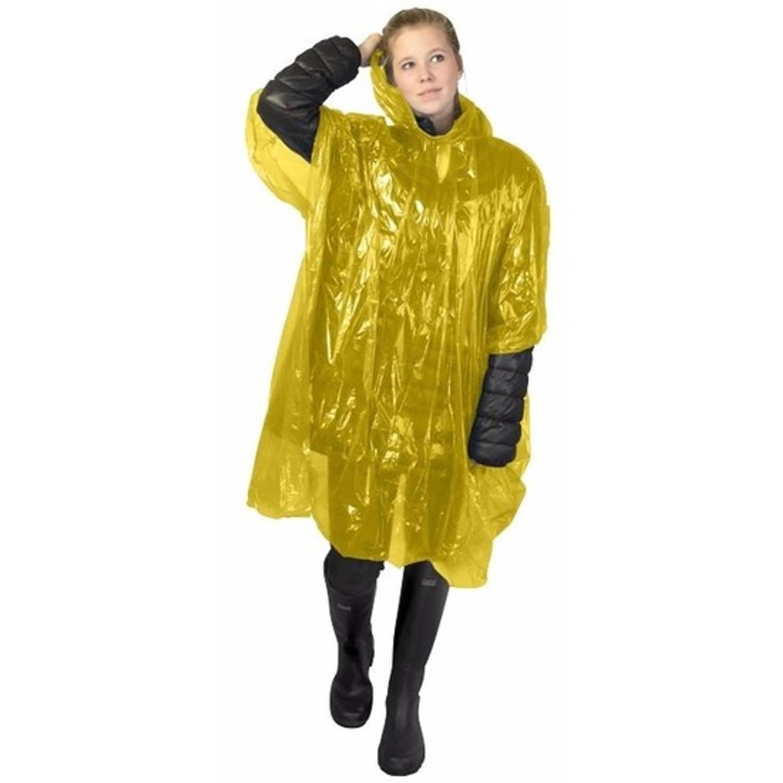 Korting Wegwerp Regenponcho Geel Voor Volwassenen