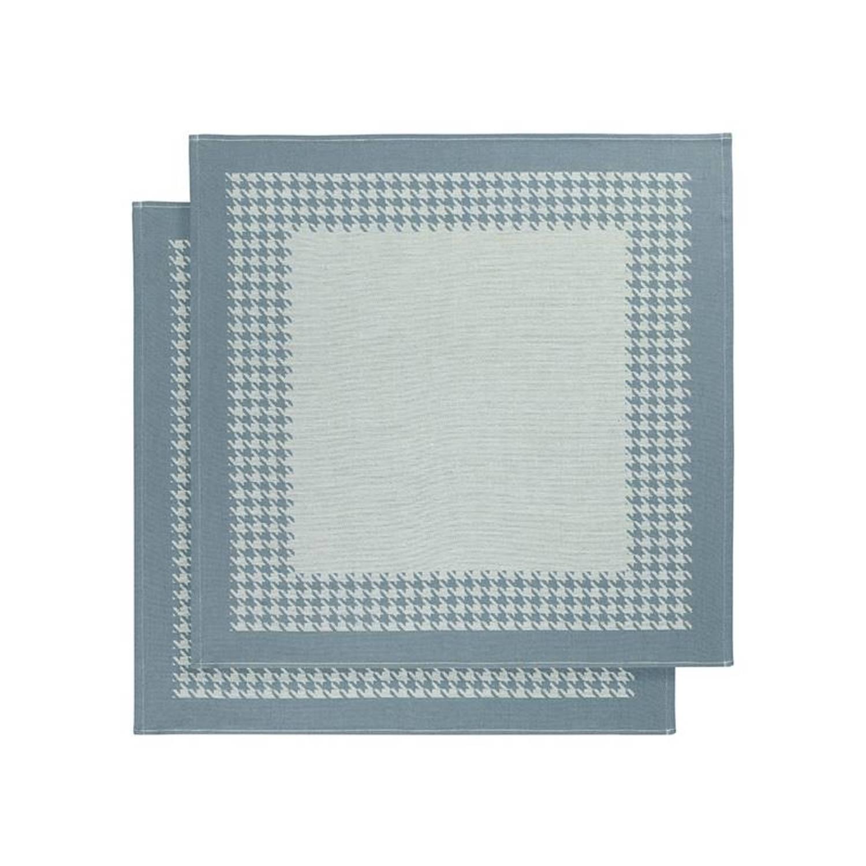De Witte Lietaer Pied De Poule theedoek (set van 2) - 100% katoen - Theedoek (66x66 cm) - Set van 2 - Groen