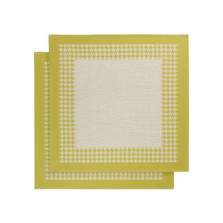 De Witte Lietaer Pied De Poule theedoek (set van 2) - Theedoek (66x66 cm) - Set van 2 - Groen