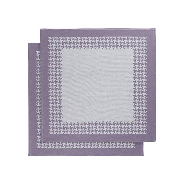 De Witte Lietaer Pied De Poule theedoek (set van 2) - Theedoek (66x66 cm) - Set van 2 - Paars