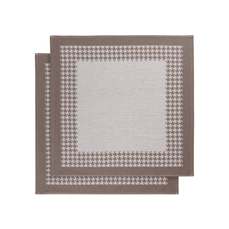 De Witte Lietaer Pied De Poule theedoek (set van 2) - Theedoek (66x66 cm) - Set van 2 - Bruin