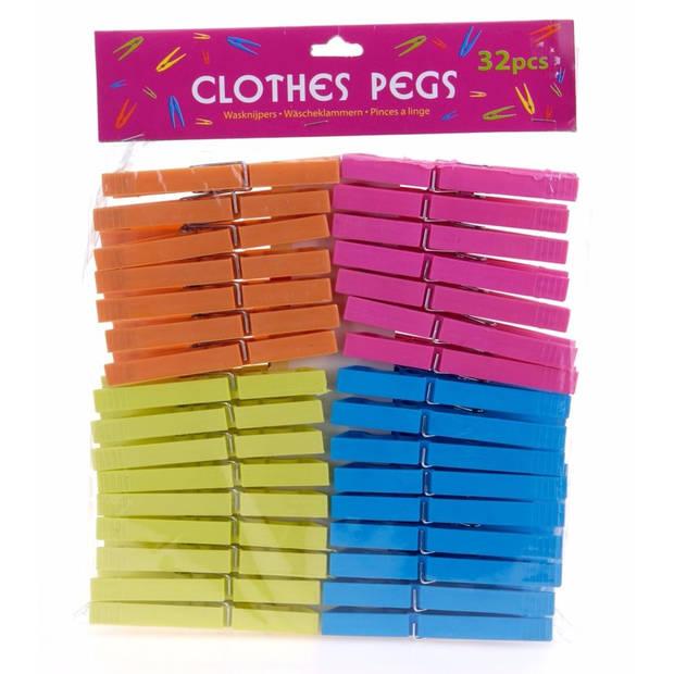 Gekleurde wasknijpers - 32 stuks - plastic wasspelden / knijpers