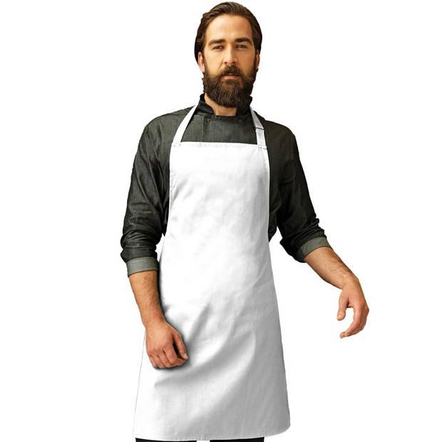 Keukenschort voor volwassenen wit - Barbecueschort wit basic