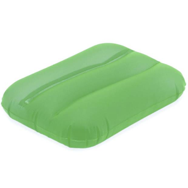 1x Opblaasbare kussentjes groen 28 x 19 cm - Reiskussens - Opblaasbare kussens voor onderweg/strand/zwembad