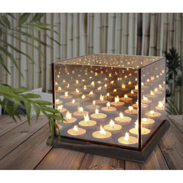 Magic 9 Cube Waxinehouder - Waxinelichthouder Infinity Candle Light - Oneindig Spiegel Effect - Glas