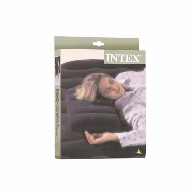 1x Intex opblaasbare reiskussens blauw 43 x 28 cm - Camping/vakantie/vliegtuig reiskussens