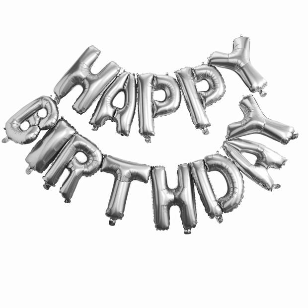 Ballonnen - Happy Birthday zilver