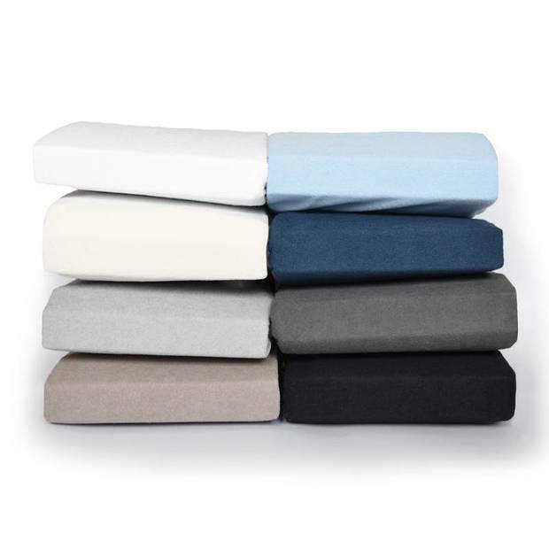 Snoozing badstof hoeslaken - 80% katoen - 20% polyester - Lits-jumeaux (160x210/220 of 180x200 cm) - Antraciet