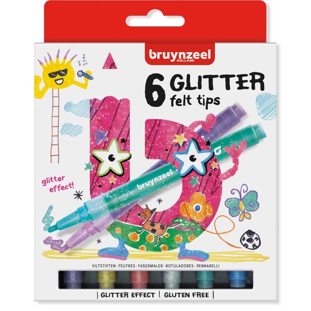 Bruynzeel glitter stiften - 6 stuks