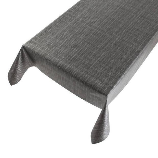 Buiten tafelkleed/tafelzeil tweed antraciet 140 x 245 cm - Rechthoekig - Tuintafelkleed tafeldecoratie