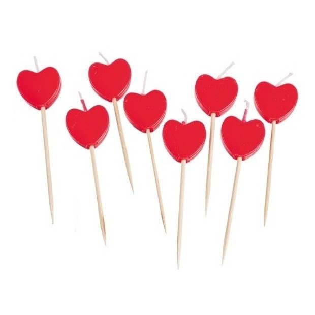 8x stuks Hartjes kaarsjes cocktailprikkers/prikkertjes - Valentijn/Liefde thema prikkertjes