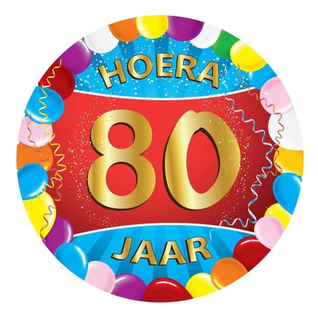 25x stuks gekleurde bierviltjes/onderzetters 80 jaar thema feestartikelen en versiering