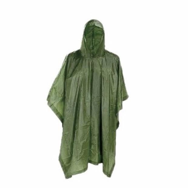 Groene herbruikbare regenponcho voor volwassenen