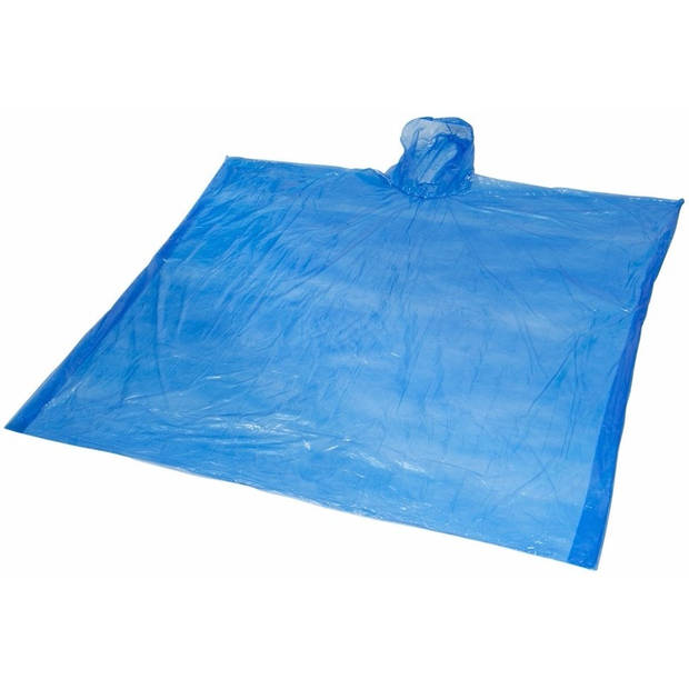 Wegwerp regenponcho blauw voor volwassenen