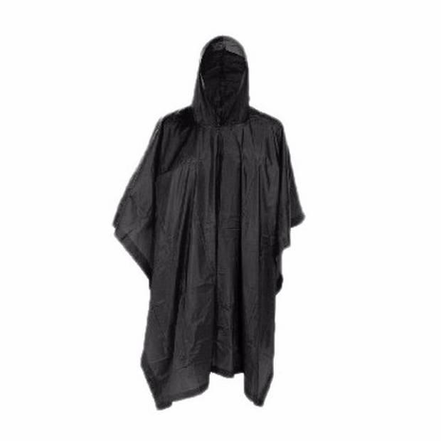 Zwarte herbruikbare regenponcho voor volwassenen
